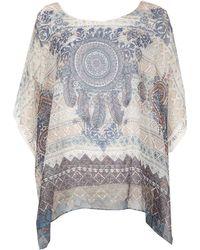 Izabel London - Short Sleeve Boho Printed Blouse Top - Lyst