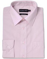 Double Two - Long Sleeve Classic Plain Cotton Blend Shirt - Lyst