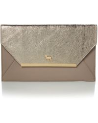 Lamb 1887 - Clarence Gold And Grey Envelope Clutch Bag - Lyst