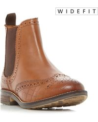 Dune - Tan 'w Quentons' Wide Fit Brogue Detail Chelsea Boots - Lyst