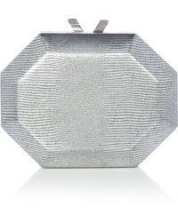 OLGA BERG - Gunmetal Metallic Replite Clutch - Lyst