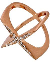 Pilgrim - Rose Gold Crystal Cris-crossing Ring - Lyst