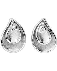 Azendi - Sterling Silver Double Teardrop Stud Ear - Lyst