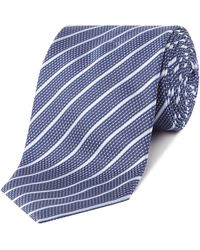 HUGO - Diagonal Stripe Tie - Lyst