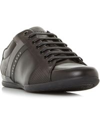 BOSS - Space Low Lux Leather Mudguard Sneakers - Lyst