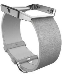 Fitbit - Blaze Mist Grey Leather Accessory Band - Lyst