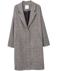 Mango - Chequered Overcoat - Lyst