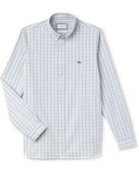Lacoste | Men's Slim Fit Check Stretch Cotton Oxford Shirt | Lyst