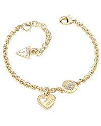 Guess | Heart Devotion Sparkle Coin Bracelet | Lyst