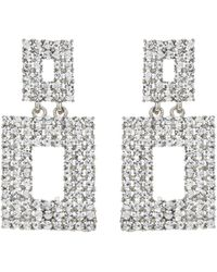 Mikey - Square Design Crystal Studded Earring - Lyst