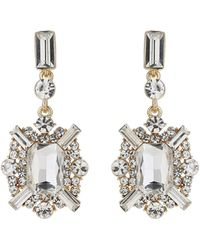Mikey - Rectangle Edged Cubic Drop Earring - Lyst