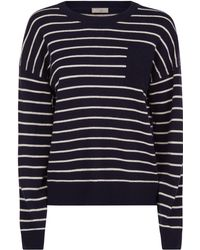 Jaeger - Cashmere Stripe Boxy Pocket Sweater - Lyst
