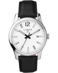 Links of London - Greenwich Noon Black Leather Watch - Lyst