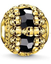 Thomas Sabo - Yellow Gold All Around Skull Karma Bead - Lyst