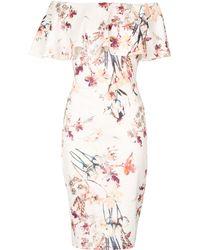 Izabel London - Floral Print Bardot Dress - Lyst