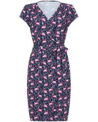 Yumi' Flamingo Jersey Wrap Dress - Blue