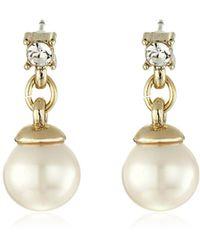 Anne Klein - Gold Tone Pearl Drop Earrings - Lyst