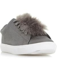 Dune - Edna Fur Pom Pom Lace Up Trainers - Lyst