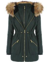 Jane Norman - Double Zip Faux Fur Hood Parka Coat - Lyst