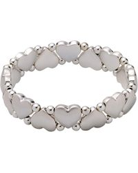 Pilgrim | Silver-plated Hearts And Pearls Bracelet | Lyst