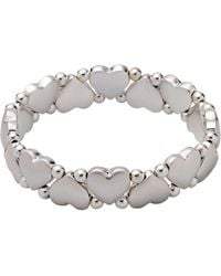 Pilgrim - Silver-plated Hearts And Pearls Bracelet - Lyst