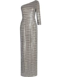 Adrianna Papell - Sequin One Sleeve Maxi Dress - Lyst