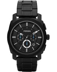 Fossil - Men's Chronograph Machine Black Stainless Steel Bracelet Watch 45mm Fs4552 - Lyst