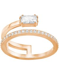 Swarovski - Gray Crystal & 18k Rose Gold-plated Layered Ring - Lyst