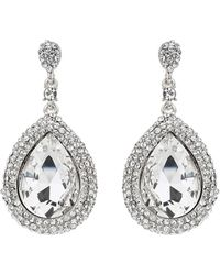 Mikey - Large Oval Crystal Edged Drop Earring - Lyst