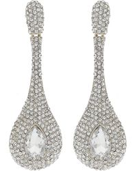 Mikey - Long Stem Drop Crystal Studded Earring - Lyst