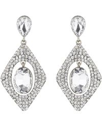 Mikey - Diamond Design Hanging Centre Earring - Lyst