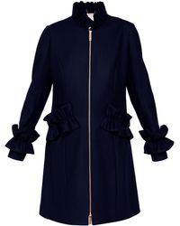 1b9fb35c6 Ted Baker - Blaykly Ruffle Detail Wool Coat - Lyst