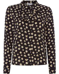 Suncoo - Lana Printed Blouse With Frill Detail - Lyst