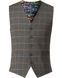 Gibson - Men's Charcoal Waistcoat With Apricot Check - Lyst