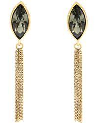 Aurora - Gold Plated Crystal Tassle Earrings - Lyst
