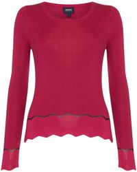 Armani Jeans | Knitted Crew Neck Lurex Jumper In Fuxia | Lyst