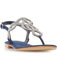 48b7074030128 Dune Lilypad Jewelled T-bar Sandals in Natural - Lyst