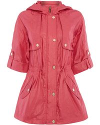 Eliza J - Hooded Parka Coat With 3/4 Sleeves - Lyst