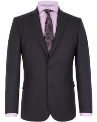 Alexandre Of England | Striped Notch Collar Tailored Fit Suit Jacket | Lyst