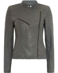 Label Lab - Leather Quilted Biker Jacket - Lyst