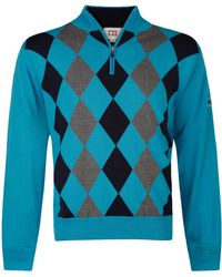 Cutter & Buck - Zip Neck Argyle Lined Jumper - Lyst