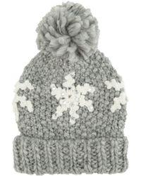 Jane Norman - Black Snowflake Bobble Hat - Lyst