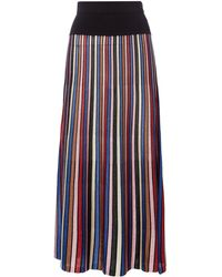 Biba - Stripe Knitted Pleat Midi Skirt - Lyst