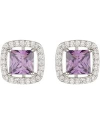 Mikey - Square Cubic Marqise Stud Earring - Lyst