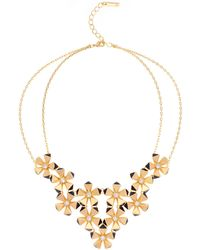 Karen Millen - Geo Flower Necklace - Gold Colour - Lyst