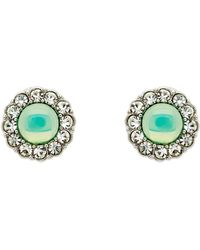 Monet - Silver Green Opal Crystal Earrings - Lyst