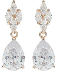 Mikey - Leaf Oval Centre Drop Earring - Lyst