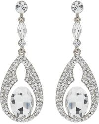 Mikey - Oval Design Crystal Stones Earring - Lyst