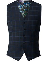 Gibson - Men's Navy Waistcoat With Blue Check - Lyst