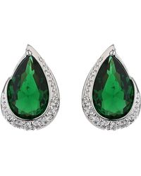 Mikey - Oval Cubic Edged Crystal Stud Earring - Lyst
